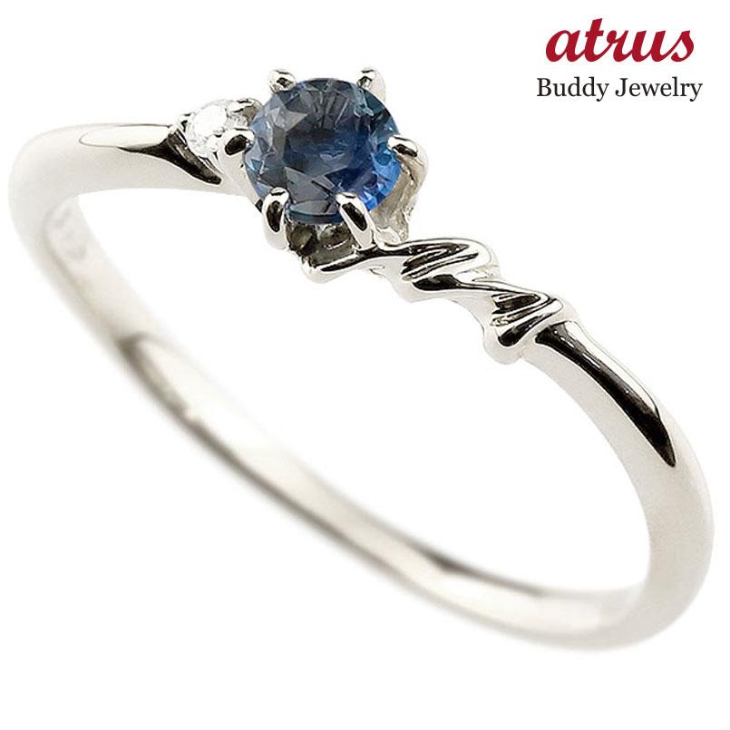 【送料無料】ピンキーリング エンゲージリング イニシャル ネーム M 婚約指輪 ブルーサファイア ダイヤモンド ホワイトゴールドk18 指輪 アルファベット 18金 レディース 9月誕生石 人気 ファッション お返し