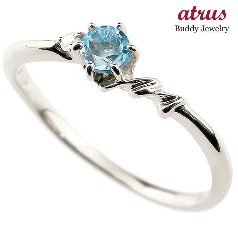 【送料無料】ピンキーリング エンゲージリング イニシャル ネーム M 婚約指輪 ブルートパーズ ダイヤモンド プラチナ 指輪 アルファベット レディース 11月誕生石 人気 ファッション お返し