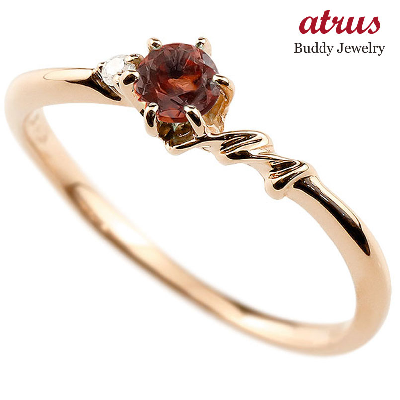 【送料無料】ピンキーリング エンゲージリング イニシャル ネーム M 婚約指輪 ガーネット ダイヤモンド ピンクゴールドk10 指輪 アルファベット 10金 レディース 1月誕生石 人気 ファッション お返し