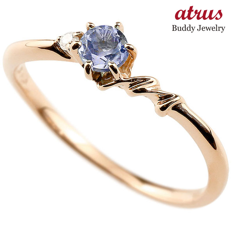 【送料無料】ピンキーリング エンゲージリング イニシャル ネーム M 婚約指輪 タンザナイト ダイヤモンド ピンクゴールドk10 指輪 アルファベット 10金 レディース 12月誕生石 人気 ファッション お返し