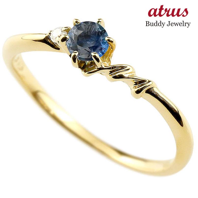【送料無料】ピンキーリング エンゲージリング イニシャル ネーム M 婚約指輪 ブルーサファイア ダイヤモンド イエローゴールドk10 指輪 アルファベット 10金 レディース 9月誕生石 人気 ファッション お返し