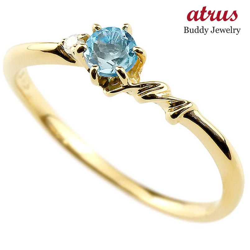【送料無料】ピンキーリング エンゲージリング イニシャル ネーム M 婚約指輪 ブルートパーズ ダイヤモンド イエローゴールドk18 指輪 アルファベット 18金 レディース 11月誕生石 人気 ファッション お返し