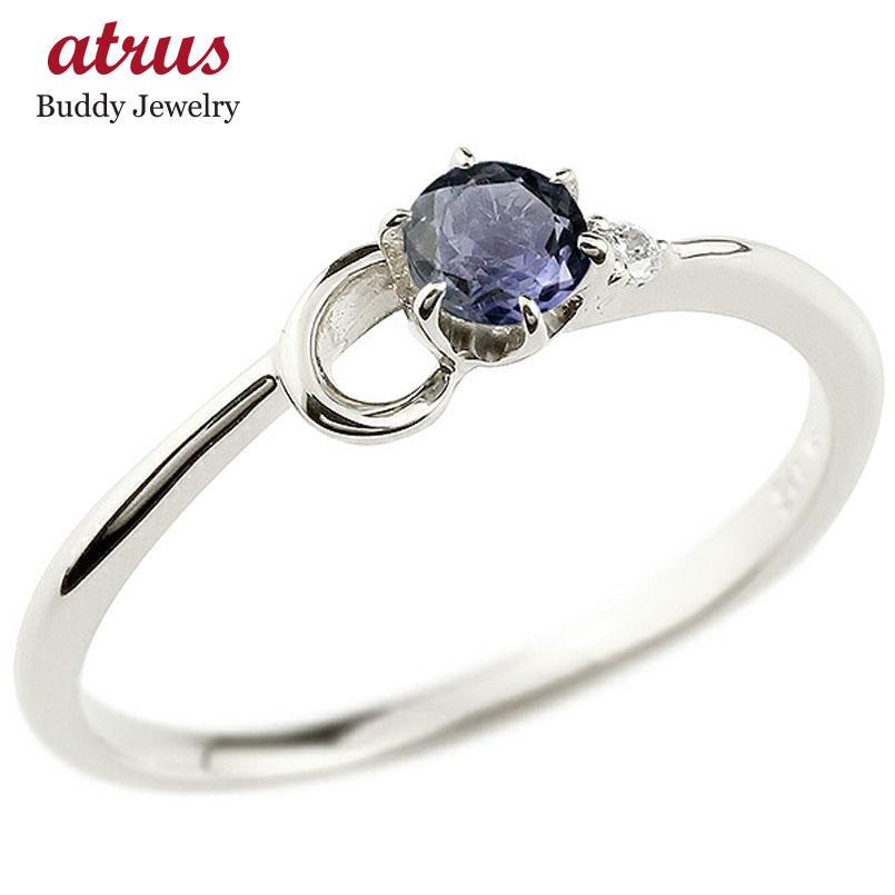 【送料無料】ピンキーリング エンゲージリング イニシャル ネーム C 婚約指輪 アイオライト ダイヤモンド プラチナ 指輪 アルファベット レディース 人気 ファッション お返し