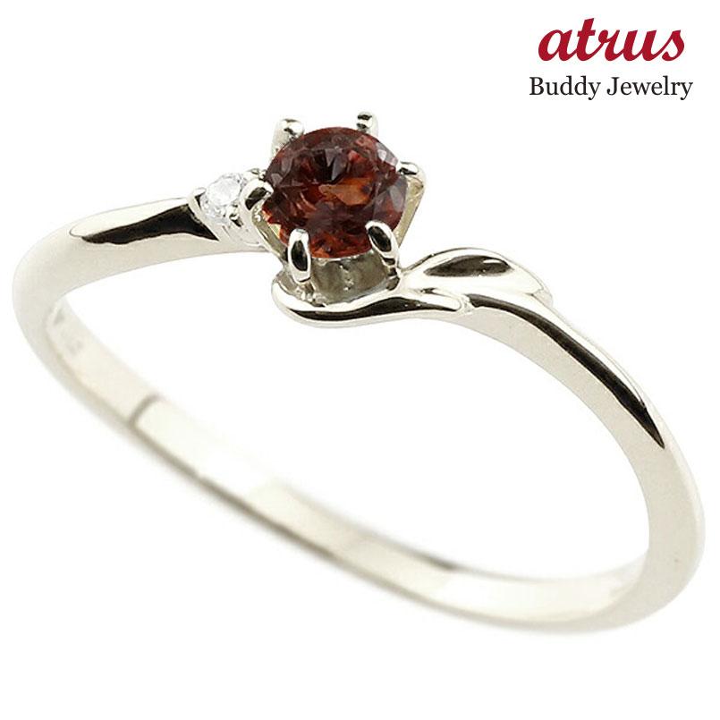 【送料無料】ピンキーリング エンゲージリング イニシャル ネーム F 婚約指輪 ガーネット ダイヤモンド プラチナ 指輪 アルファベット レディース 1月誕生石 人気 ファッション お返し
