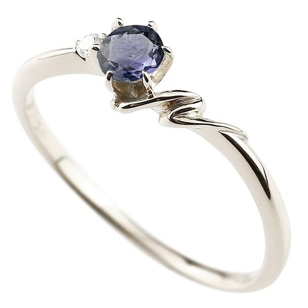 【送料無料】ピンキーリング エンゲージリング イニシャル ネーム N 婚約指輪 アイオライト ダイヤモンド ホワイトゴールドk10 指輪 アルファベット 10金 レディース 人気 ファッション お返し