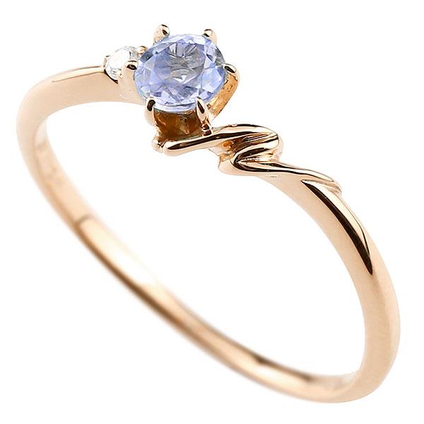 【送料無料】ピンキーリング エンゲージリング イニシャル ネーム N 婚約指輪 タンザナイト ダイヤモンド ピンクゴールドk10 指輪 アルファベット 10金 レディース 12月誕生石 人気 ファッション お返し