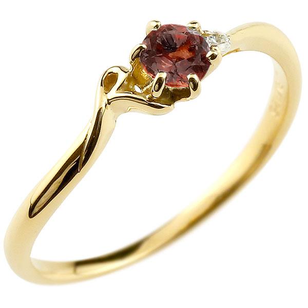 【送料無料】ピンキーリング エンゲージリング イニシャル ネーム R 婚約指輪 ガーネット ダイヤモンド イエローゴールドk18 指輪 アルファベット 18金 レディース 1月誕生石 人気 ファッション お返し