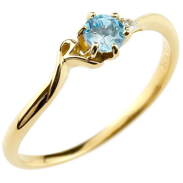【送料無料】ピンキーリング エンゲージリング イニシャル ネーム R 婚約指輪 ブルートパーズ ダイヤモンド イエローゴールドk18 指輪 アルファベット 18金 レディース 11月誕生石 人気 ファッション お返し