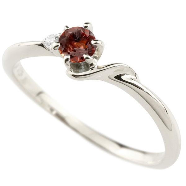 【送料無料】ピンキーリング エンゲージリング イニシャル ネーム S 婚約指輪 ガーネット ダイヤモンド プラチナ 指輪 アルファベット レディース 1月誕生石 人気 ファッション お返し
