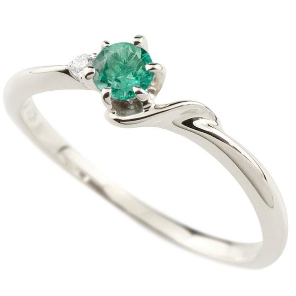 【送料無料】ピンキーリング エンゲージリング イニシャル ネーム S 婚約指輪 エメラルド ダイヤモンド シルバー 指輪 アルファベット レディース 5月誕生石 人気 ファッション お返し