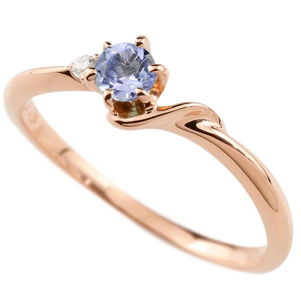 【送料無料】ピンキーリング エンゲージリング イニシャル ネーム S 婚約指輪 タンザナイト ダイヤモンド ピンクゴールドk10 指輪 アルファベット 10金 レディース 12月誕生石 人気 ファッション お返し