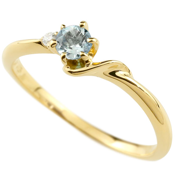 【送料無料】ピンキーリング エンゲージリング イニシャル ネーム S 婚約指輪 アクアマリン ダイヤモンド イエローゴールドk10 指輪 アルファベット 10金 レディース 3月誕生石 人気 ファッション お返し