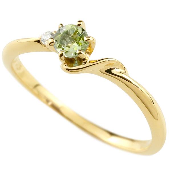 【送料無料】ピンキーリング エンゲージリング イニシャル ネーム S 婚約指輪 ペリドット ダイヤモンド イエローゴールドk18 指輪 アルファベット 18金 レディース 8月誕生石 人気 ファッション お返し