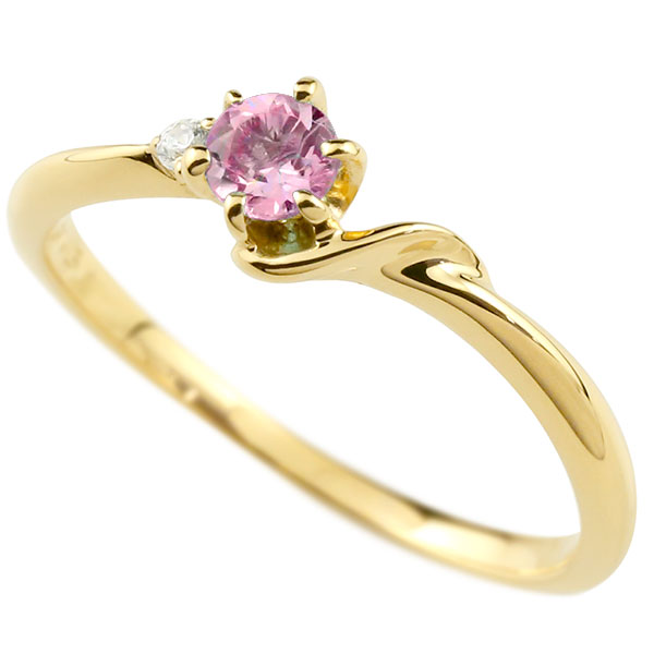 【送料無料】ピンキーリング エンゲージリング イニシャル ネーム S 婚約指輪 ピンクサファイア ダイヤモンド イエローゴールドk10 指輪 アルファベット 10金 レディース 9月誕生石 人気 ファッション お返し