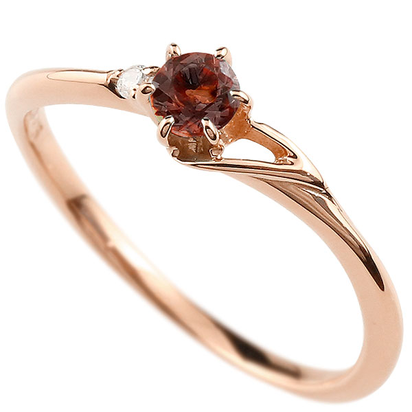 【送料無料】ピンキーリング エンゲージリング イニシャル ネーム T 婚約指輪 ガーネット ダイヤモンド ピンクゴールドk18 指輪 アルファベット 18金 レディース 1月誕生石 人気 ファッション お返し