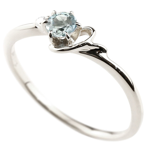【送料無料】ピンキーリング エンゲージリング イニシャル ネーム Y 婚約指輪 アクアマリン ダイヤモンド ホワイトゴールドk10 指輪 アルファベット 10金 レディース 3月誕生石 人気 ファッション お返し