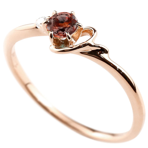 【送料無料】ピンキーリング エンゲージリング イニシャル ネーム Y 婚約指輪 ガーネット ダイヤモンド ピンクゴールドk18 指輪 アルファベット 18金 レディース 1月誕生石 人気 ファッション お返し