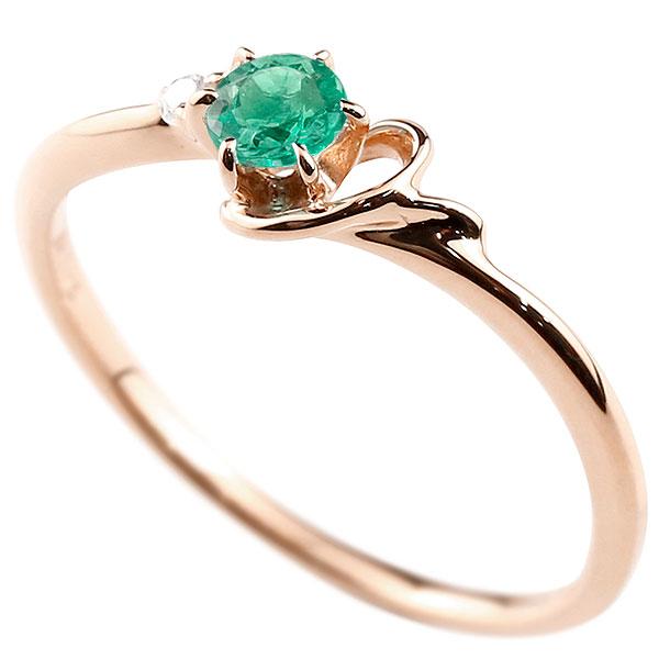 【送料無料】ピンキーリング エンゲージリング イニシャル ネーム Y 婚約指輪 エメラルド ダイヤモンド ピンクゴールドk10 指輪 アルファベット 10金 レディース 5月誕生石 人気 ファッション お返し
