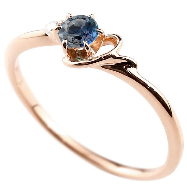 【送料無料】ピンキーリング エンゲージリング イニシャル ネーム Y 婚約指輪 ブルーサファイア ダイヤモンド ピンクゴールドk10 指輪 アルファベット 10金 レディース 9月誕生石 人気 ファッション お返し