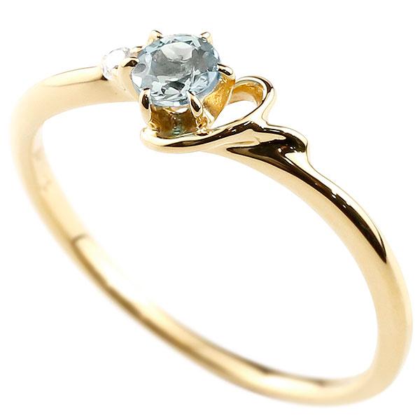 【送料無料】ピンキーリング エンゲージリング イニシャル ネーム Y 婚約指輪 アクアマリン ダイヤモンド イエローゴールドk10 指輪 アルファベット 10金 レディース 3月誕生石 人気 ファッション お返し
