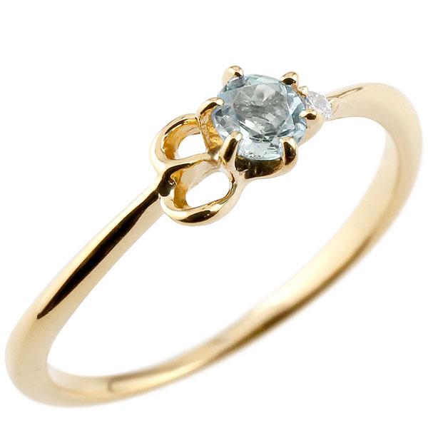 【送料無料】ピンキーリング エンゲージリング イニシャル ネーム E 婚約指輪 アクアマリン ダイヤモンド イエローゴールドk10 指輪 アルファベット 10金 レディース 3月誕生石 人気 ファッション お返し