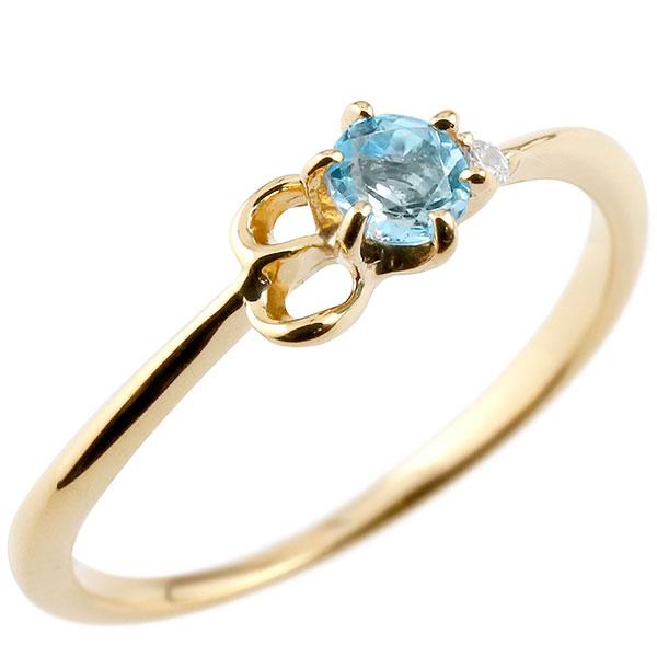 【送料無料】ピンキーリング エンゲージリング イニシャル ネーム E 婚約指輪 ブルートパーズ ダイヤモンド イエローゴールドk18 指輪 アルファベット 18金 レディース 11月誕生石 人気 ファッション お返し