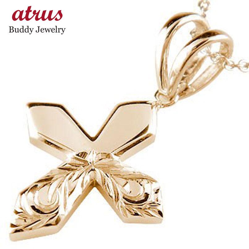 メンズ ハワイアンジュエリー ハワイアンペンダント クロス ピンクゴールドK18 チェーン 人気18金 男性用 贈り物 誕生日プレゼント ギフト ファッション 18k エンゲージリングのお返し 父の日