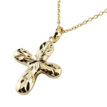 ハワイアンジュエリー クロス ネックレス ペンダント イエローゴールドk18 18金 十字架 地金 チェーン 人気 贈り物 誕生日プレゼント ギフト ファッション