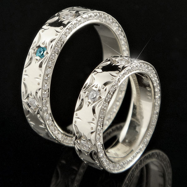 ペアリング ハワイアン ダイヤモンド ブルーダイヤモンド 結婚指輪 マリッジリング シルバー ダイヤ ストレート カップル 贈り物 誕生日プレゼント ギフト ファッション パートナー 送料無料