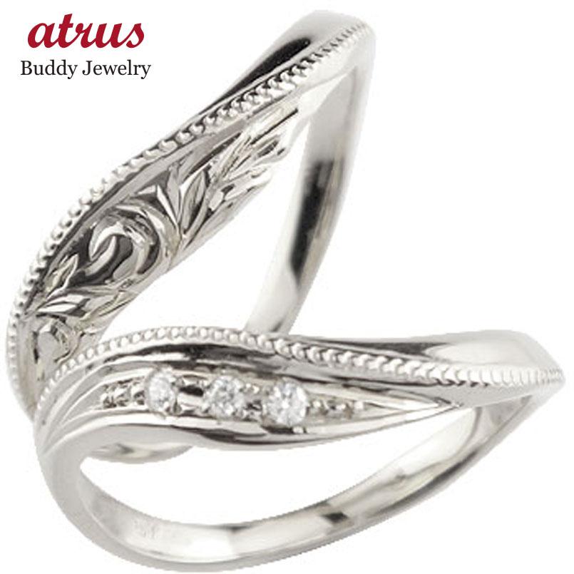 ペアリング ハワイアンジュエリー 人気 ダイヤモンド 結婚指輪 マリッジリング ホワイトゴールドk18 18金 k18wg ダイヤ ストレート カップル 贈り物 誕生日プレゼント ギフト ファッション パートナー 送料無料