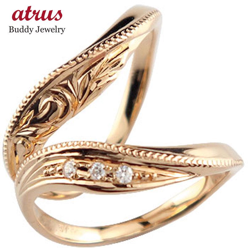 ハワイアンジュエリー ペアリング 人気 ダイヤモンド 結婚指輪 マリッジリング ピンクゴールドk10 10金 k10pg ダイヤ ストレート カップル プロポーズ 記念日 誕生日 マリッジリング 贈り物 誕生日プレゼント ギフト ファッション パートナー 送料無料