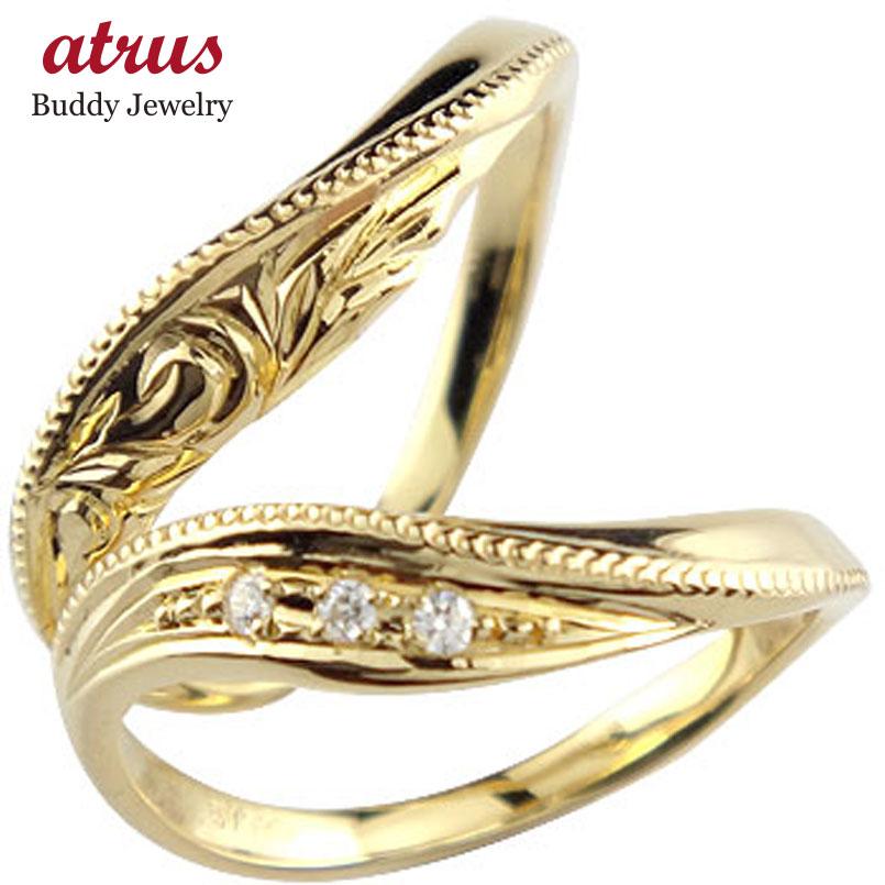 ハワイアンジュエリー ペアリング 人気 ダイヤモンド 結婚指輪 マリッジリング イエローゴールドk18 18金 k18yg ダイヤ ストレート カップル 贈り物 誕生日プレゼント ギフト ファッション 2019