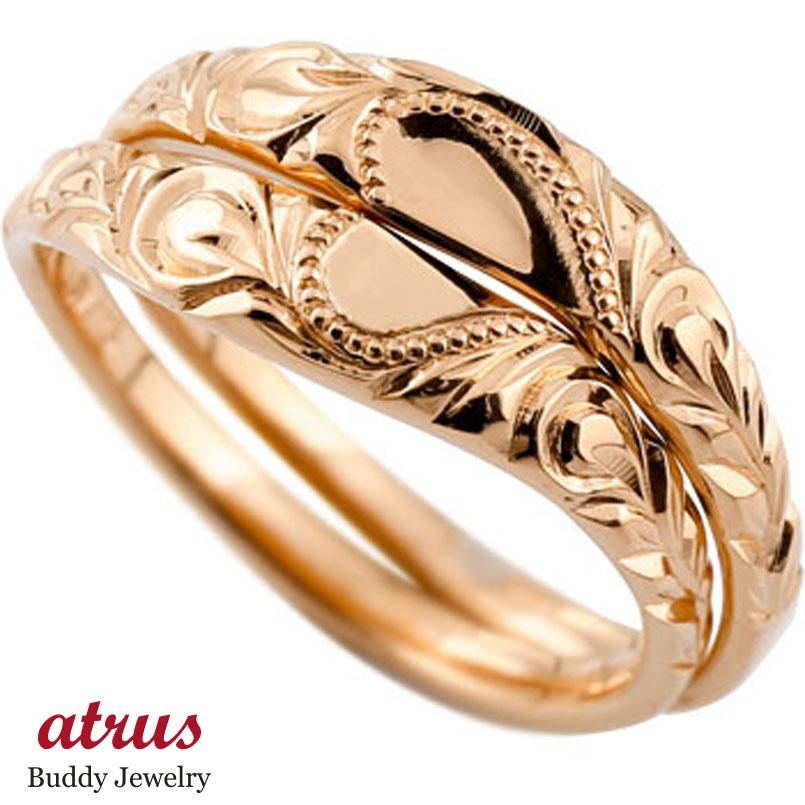 ハワイアン ペアリング 人気 結婚指輪 ハート ピンクゴールドk10 地金リング 10金 k10pg ストレート カップル プロポーズ 記念日 誕生日 マリッジリング 贈り物 誕生日プレゼント ギフト ファッション パートナー 送料無料