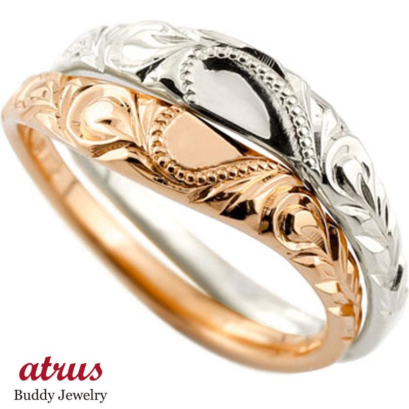 ハワイアン ペアリング 人気 結婚指輪 ハート ホワイトゴールド10 ピンクゴールド10 ミル打ち 地金リング 10金 k10wg k10pg ストレート カップル プロポーズ 記念日 誕生日 マリッジリング 贈り物 誕生日プレゼント ギフト ファッション パートナー 送料無料
