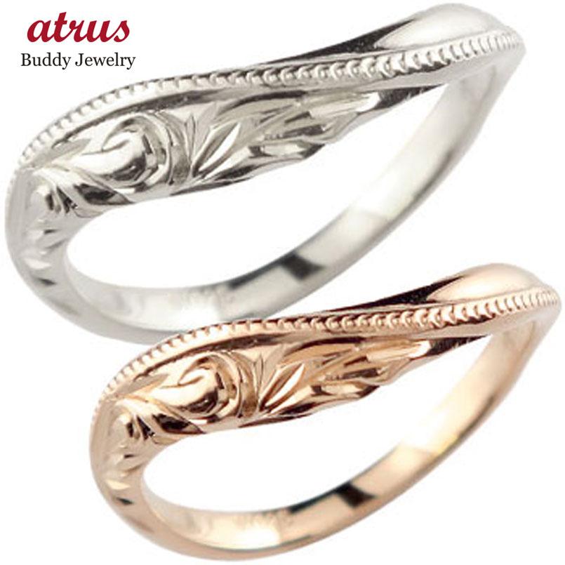ハワイアン ペアリング 人気 結婚指輪 ミル打ち ピンクゴールドk18 ホワイトゴールドk18 地金リング 18金 k18wg k18pg ウェーブリング ストレート カップル 贈り物 誕生日プレゼント ギフト ファッション 2019