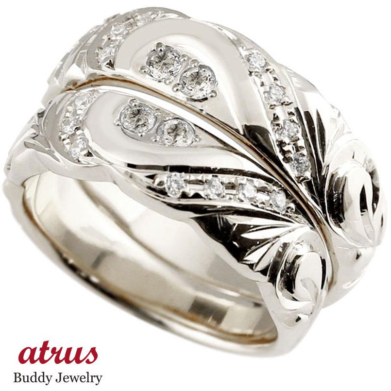 結婚指輪 ペアリング ハワイアンジュエリー プラチナ ダイヤモンド 幅広 指輪 マリッジリング ハート ストレート カップル プロポーズ 記念日 誕生日 マリッジリング 贈り物 誕生日プレゼント ギフト ファッション