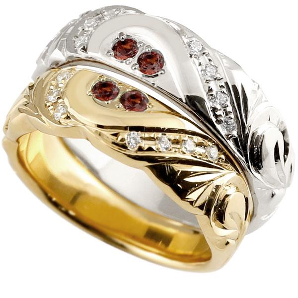 結婚指輪 ペアリング ハワイアンジュエリー ガーネット ダイヤモンド イエローゴールドk10 ホワイトゴールドk10 幅広 指輪 マリッジリング ハート 10金 プロポーズ 記念日 誕生日 マリッジリング 贈り物 誕生日プレゼント ギフト パートナー