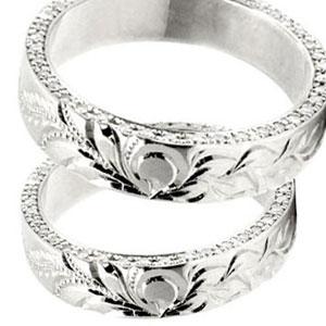 結婚指輪 プラチナリング ハワイアン ダイヤモンドペアリング マリッジリング 結婚記念リング ダイヤ ストレート カップル 贈り物 誕生日プレゼント ギフト ファッション パートナー 送料無料