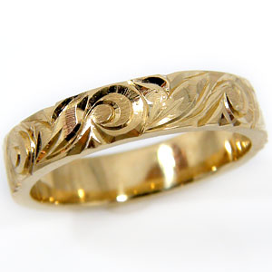 ハワイアンジュエリー リング ハワイアンリング 指輪 イエローゴールドk18 k18 マイレ 葉 スクロール 波 ハワイ 地金リング 18金 ストレート 贈り物 誕生日プレゼント ギフト ファッション 妻 嫁 奥さん 女性 彼女 娘 母 祖母 パートナー 送料無料