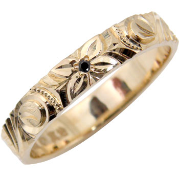 ハワイアンジュエリー リング ブラックダイヤ 指輪 ピンクゴールドK18 手彫りハワイアンリング 一粒 18金 k18pg ストレート 贈り物 誕生日プレゼント ギフト ファッション 妻 嫁 奥さん 女性 彼女 娘 母 祖母 パートナー