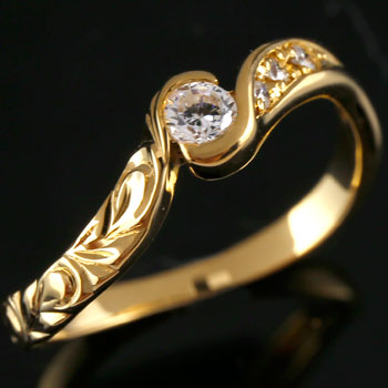 ハワイアンジュエリー リング ハワイアン ダイヤモンド リング 指輪 イエローゴールドk18 ハワイアンリング 18金 k18yg ダイヤ ストレート 贈り物 誕生日プレゼント ギフト ファッション 2019