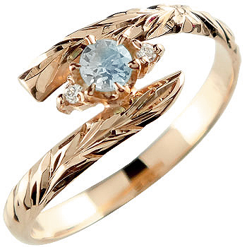 ハワイアンジュエリー リング ブルームーンストーン ピンクゴールドk18 指輪 ハワイアンリング 6月誕生石 18金 k18pg ストレート 贈り物 誕生日プレゼント ギフト ファッション