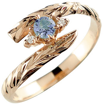 ハワイアンジュエリー リング リング アイオライト ピンクゴールドk18 指輪 ハワイアンリング 18金 k18pg ストレート 贈り物 誕生日プレゼント ギフト ファッション