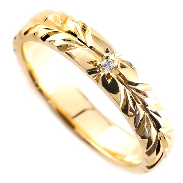 ハワイアンジュエリー リング ダイヤモンド ハワイアンリング 一粒 ダイヤ イエローゴールドk18 ハワイ 一粒 18金 k18yg ストレート 贈り物 誕生日プレゼント ギフト ファッション 18k