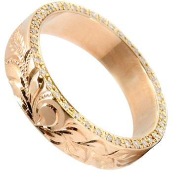 ハワイアンジュエリー ハワイアンリング ダイヤモンドリング 指輪 ピンクゴールドk18 k18PG 豪華エタニティ ミル打ち ミル 18金 ダイヤ ストレート 妻 嫁 奥さん 女性 彼女 娘 母 祖母 パートナー 送料無料
