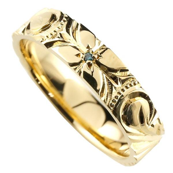 ピンキーリング ハワイアンジュエリー ブルーダイヤモンド 指輪 イエローゴールドK18 手彫りハワイアンリング 一粒 18金 k18yg ダイヤ ストレート 妻 嫁 奥さん 女性 彼女 娘 母 祖母 パートナー