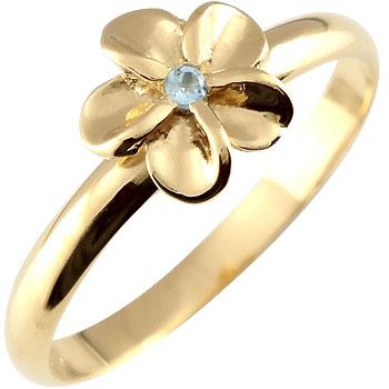 ハワイアンジュエリー ピンキーリング リング 一粒 ハワイアン 指輪 イエローゴールドk18 ハワイアンリング 18金 k18yg ストレート 宝石 送料無料