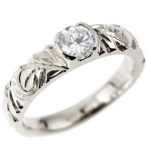 ピンキーリング ハワイアンジュエリー ダイヤモンド リング 一粒 大粒 指輪 ホワイトゴールドk18 ハワイアンリング 18金 k18wg ダイヤ ストレート