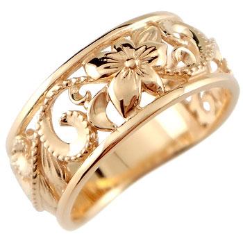 ピンキーリング ハワイアンジュエリー リング 指輪 幅広 透かし ミル打ち ピンクゴールドk10 ハワイアンリング 地金リング 10金 k10pg ストレート 妻 嫁 奥さん 女性 彼女 娘 母 祖母 パートナー 送料無料
