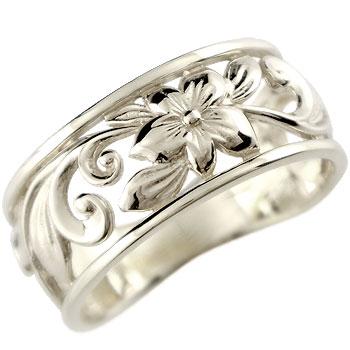 ピンキーリング ハワイアンジュエリー リング 指輪 幅広 透かし ホワイトゴールドk10 ハワイアンリング 地金リング 10金 k10wg ストレート